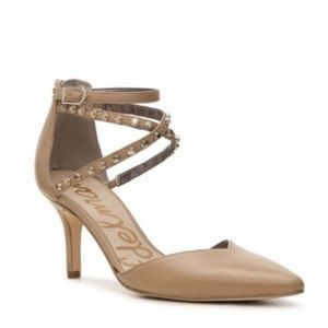 Sam Edelman Tan Leather Studded Strap Heels
